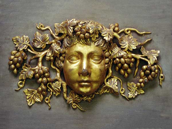 Carved and gilt Bacchus - Part of wooden fire place