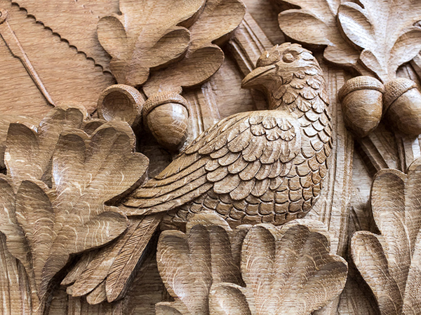 Carved bird in english oak