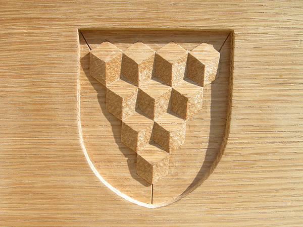 Scientific Instruments Makers - Carved heraldic shield