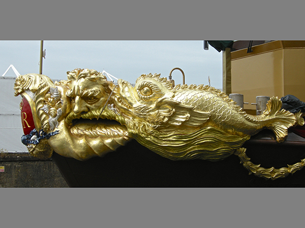The Queen's Diamond Jubilee Royal Barge, gilded prow sculpture