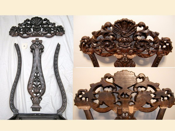 17C carved walnut chair restoration by The Woodcarving Studio