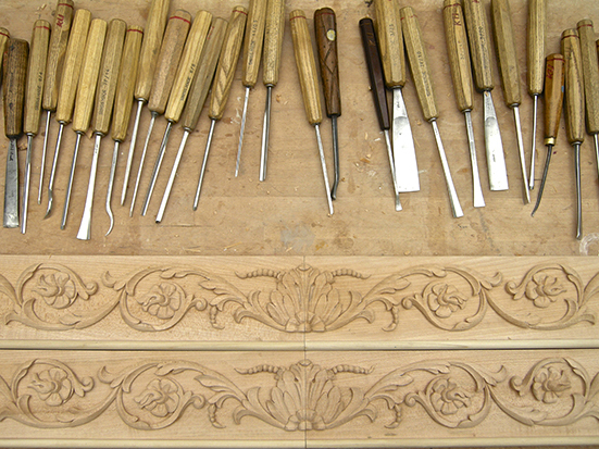 St James's Square, Wine Cellar -Architectural wood carving for fine Joinery company