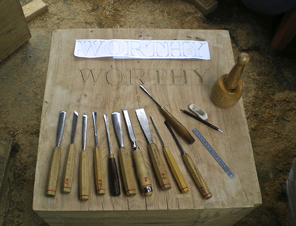 Hampton Court Flower Show - Letter carving in green oak