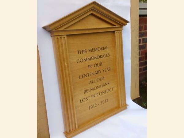Belmont School, Commemorative Plaque by The Woodcarving Studio