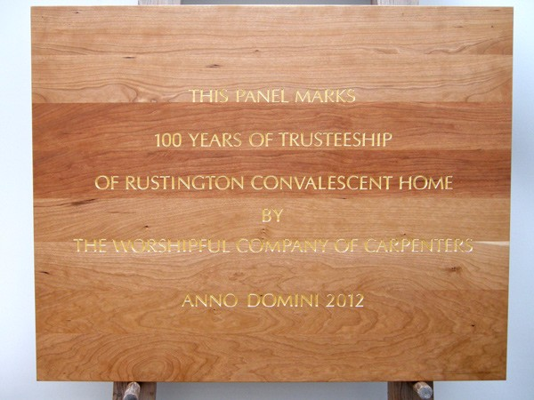 Commemorative Plaque Rustington Convalescent Home by The Woodcarving Studio