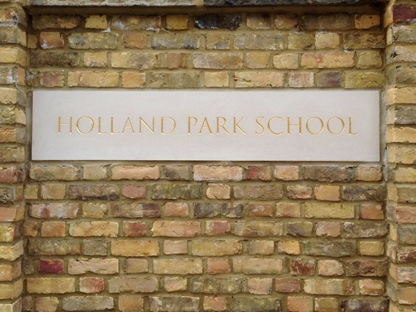 Holland Park School, gilded letters by The Woodcarving Studio