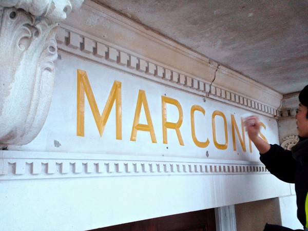 Marconi Building,  gilded letters by The Woodcarving Studio