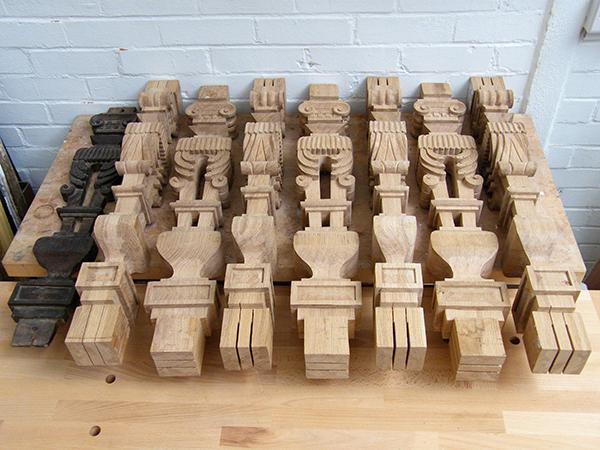 Bespoke carved oak balusters