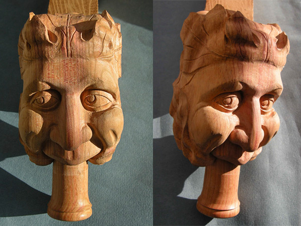 Carved green man for a bagpipe maker