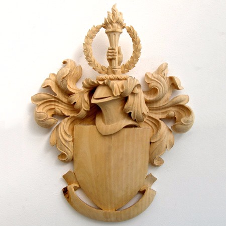 City University London crest wood carved