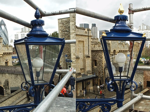Tower of London gilded lanterns (Behind-Fusiliers) by The Woodcarving Studio