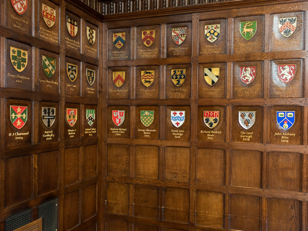 Carved Master's Coats of Arms - Ironmongers's Hall, London