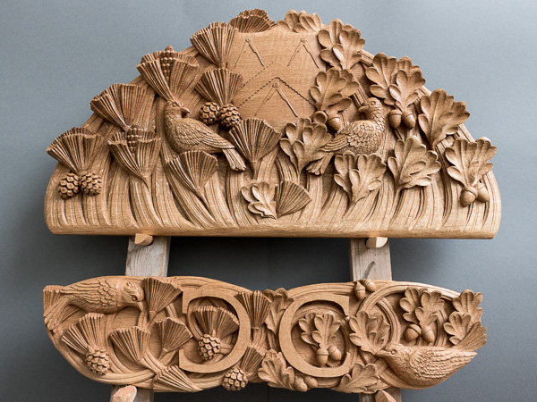 Carved Oak panel including The Capenters' Company Coat of Arms