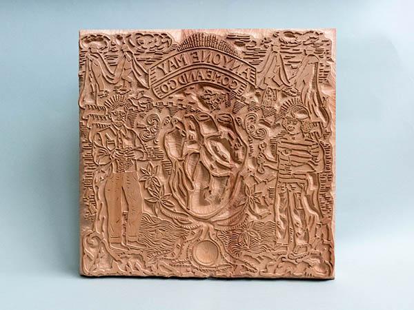 Carved Tillet Print Block commissioned by Preston street artist group