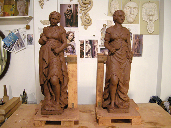 Church memorial restoration - clay model for the replacement of carved figures