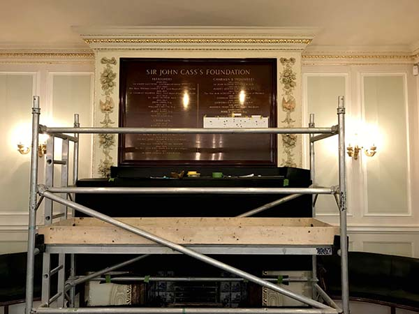 Sir John Cass's Foundation - Addition of carved & gilded letters on existing honour board