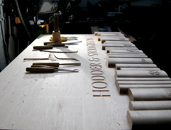 Bespoke carved panel commission for Hodder and Stoughton UK