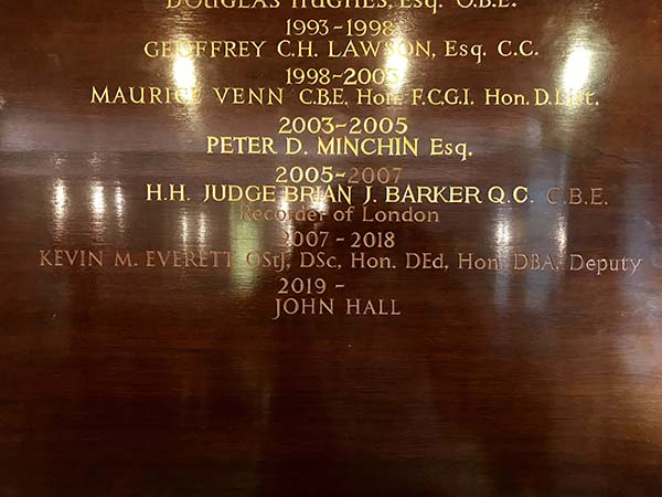 John Cass's Foundation - Addition of carved & gilded letters on existing honour board