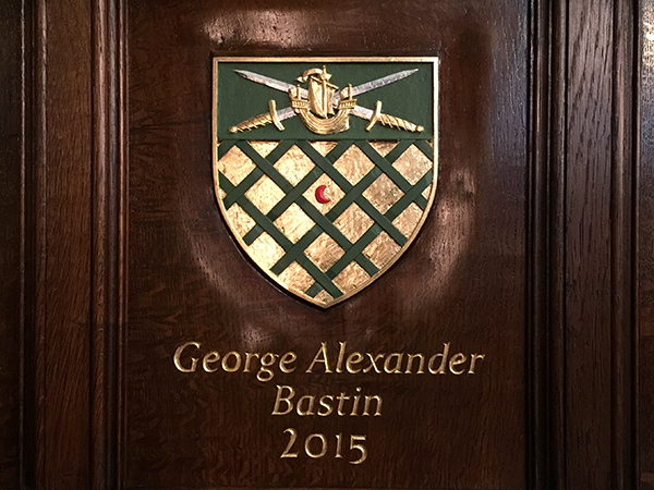 2015 Master's Coat of Arms - Carved in situ on oak panelling