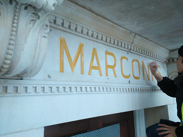 Marconi building - Gilding service for exterior carved letters