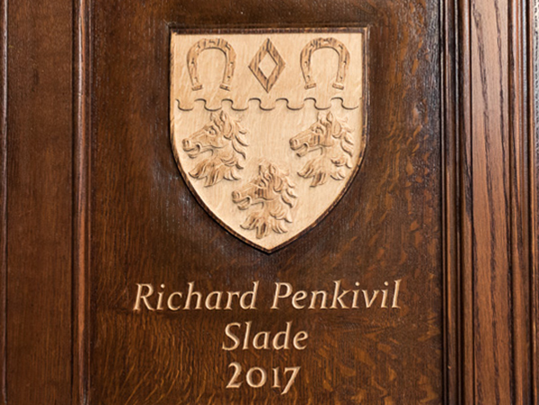 2017 Master's Coat of Arms - Carved in situ on oak panelling
