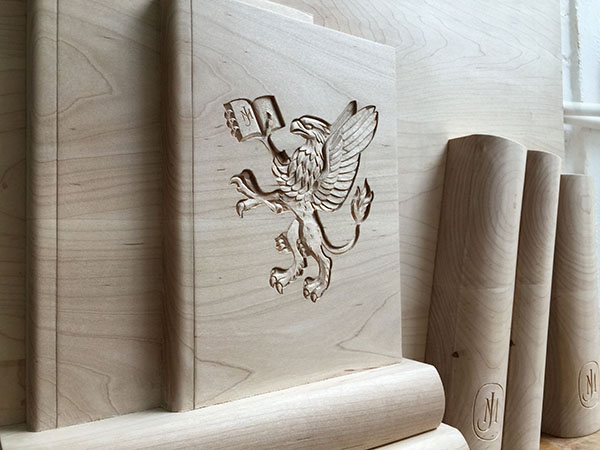 Bespoke carved wooden panel for John Murray Press UK - Heraldic carving