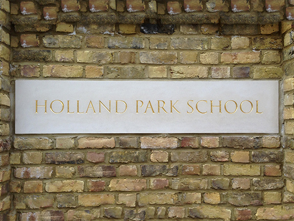Holland park school, London - Professional gilding service on signs
