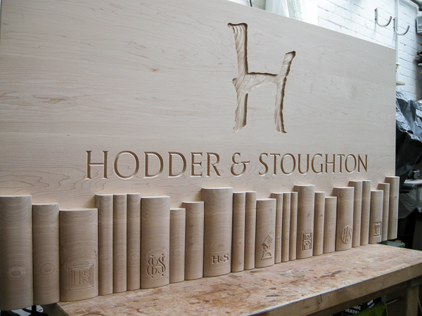 Bespoke carved panel for Hodder and Stoughton new lobby