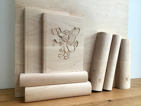 Bespoke carved wooden panel for John Murray Press UK - Carved books