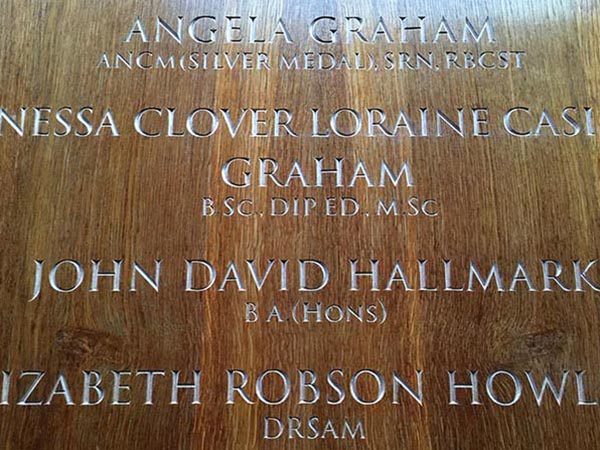 Wandsworth Council - Honour board, hand-carved letters
