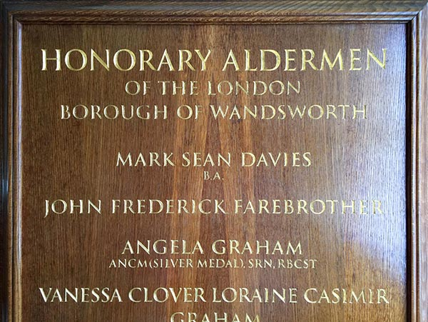 Wandsworth council Honour board - Traditional gold leaf finishes on carved letters