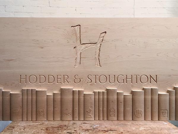 Bespoke carved panel for Hodder and Stoughton new lobby