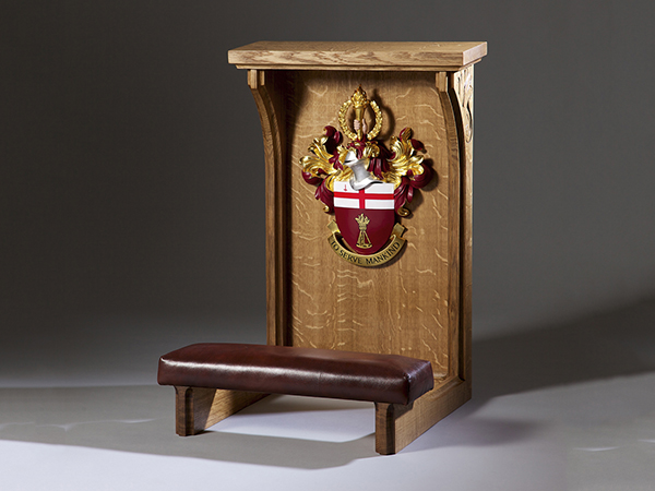 City University Ceremonial Kneeling Stool - Bespoke furniture Heraldic Carving