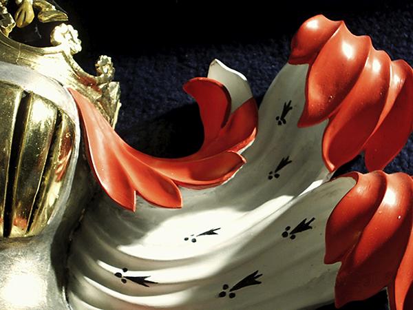 8_Carved and gilt heraldic helm & mantling