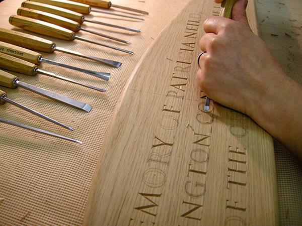 Memorial Bench - Bespoke letter carving